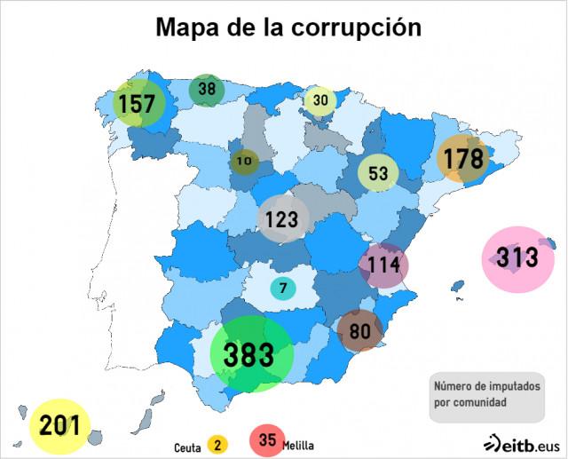 Mapa Corrupcion España 2017.Mapa De La Corrupcion Del Partido Popular En Espana Iva